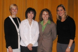 (L to R) Dr. Marie Hardin (Co-Director John Curly Center for Sports Journalism, Penn State University; Rachel Blount, Sports Columnist, Star Tribune; Dr. Nicole LaVoi, Associate Director, The Tucker Center; Angela Ruggiero; US Women's National Ice Hockey Team Member